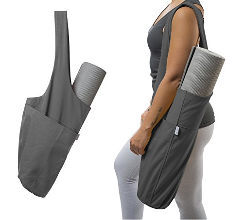 Yogiii Yoga Mat Bag | The Original YogiiiTote | Yoga Mat Tote Sling Carrier w/Large Side Pocket & Zipper Pocket | Fits Most Size Mats (Ash Gray)