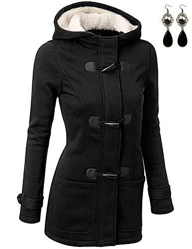 BUOYDM Cappotto Donna Felpa con Cappuccio Giacca Invernale Giacche e Cappotti Outwear Hoodies, Nero XL