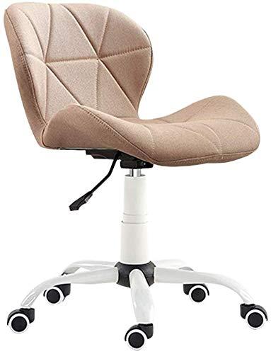 MGE Ergonomische Home Office bureaustoel zonder armleuning, draaibaar linnen bank stoel, 10 cm verstelbare hoogte kleine Student Study stoel, licht bruin