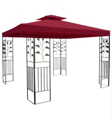 habeig WASSERDICHTER Pavillon TOSKANA 3x3m Metall inkl. Dach Festzelt wasserfest Partyzelt (Bordeaux)