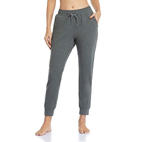 Ollrynns Pantalones Chándal Mujer Algodón Largos Jogging Pantalón Deportivos con Bolsillos para Yoga Fitness Jogger Correr Casual N061, Gris Profundo,M