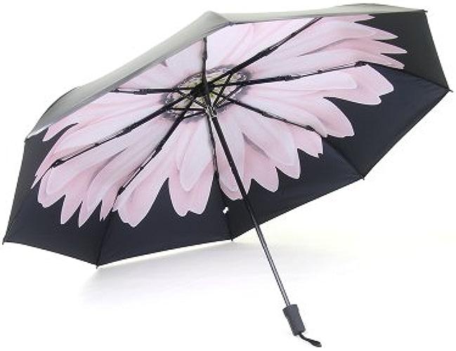 YFF@ILU Le cadeau d'amoureux de baromètre, UV sun ultra-solide, les fleurs de cerisier parapluies Parapluies Pliage ultra-léger femme petit parapluie noir B