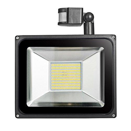 Himanjie Led-buitenlamp met bewegingsmelder, koud wit/warm wit, oplichtend, waterdicht IP65, AC 200-240 V, veiligheidslicht, tuinschijnwerper, fabriek, reclameplaatjes