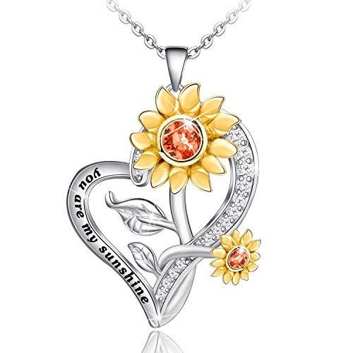 Distance Sunflower Necklace for Women S925 Sterling Silver Heart Necklace JewelryYou are My Sunshine Pendant Necklaces Jewelry Gifts for Women Girls Mom Wife