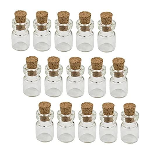 fregthf Botella De Vidrio Tapadas con Corcho Mini Botellas del Deseo De Bricolaje Botellas En Miniatura De Corcho Tapones Tarros De Cristal De 0,5 Ml 50pcs