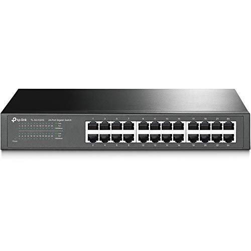 TP-Link 24 Port Gigabit Ethernet Switch | Desktop/ Rackmount | Limited Lifetime Protection | Plug & Play | Shielded Ports | Sturdy Metal | Fanless Quiet | Traffic Optimization | Unmanaged (TL-SG1024S)