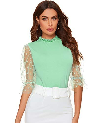 Romwe Women's Summer Short Sleeve Mock Neck Casual Blouse Tops Mint Green Medium