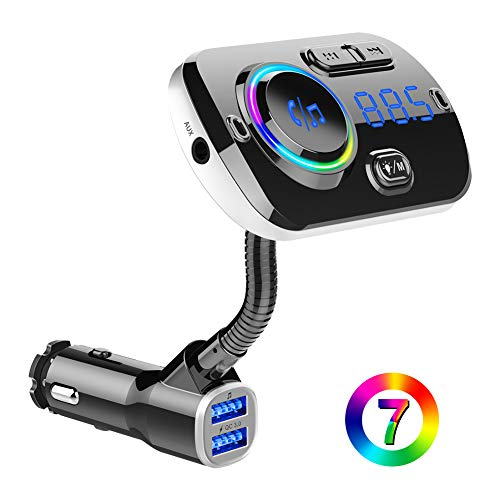 BTMAGIC Bluetooth FM Transmitter BC49AQ fürs Auto, 7-Farbiger LED-Autoadapter mit QC3.0-Aufladung, Siri Google Assistant, USB-Stick, MicroSD-Karte, Freisprecheinrichtung