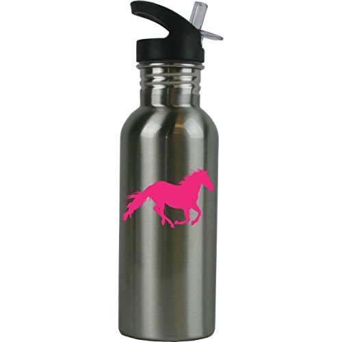 Personalized Custom Horse Stainless Steel Water Bottle with Straw Top 20 Ounce Sport Water Bottle Customizable (Hot Pink)
