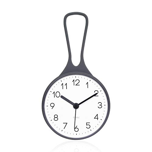 Mooas Loop Bathroom Clock, Shower Clock, Waterproof Shower Clock, Hanging Clock with Hook, Waterproof Shower Clock, Kitchen Clock, Non-Ticking Battery Operated (Gray)