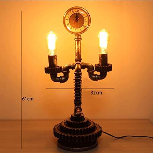WHKFD Nasses Licht, Retro Kreative Schreibtischlampe, Analoger Druckmesser, 2 Lichter