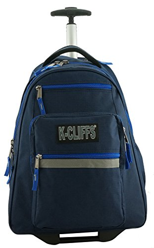 K-Cliffs Heavy Duty Rolling Backpack School Backpacks with Wheels Deluxe Trolley Book Bag Wheeled Daypack Workbag Multiple Pockets Bookbag with Safety Reflective Stripe Navy Blue