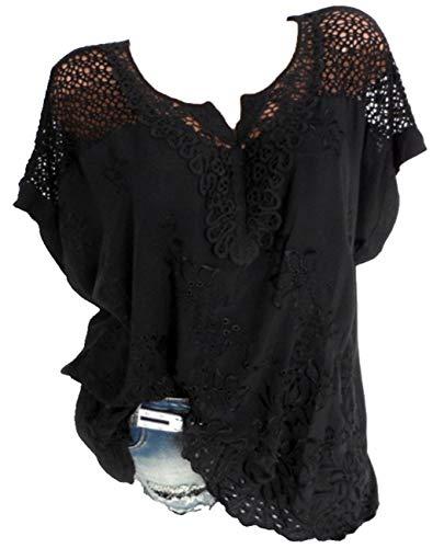 Rolanscia Hemd Damen Elegant Schluppenbluse Schwarzes Damenbluse Hemden Schwarze Bluse Frauen Elegante Blusen 5XL