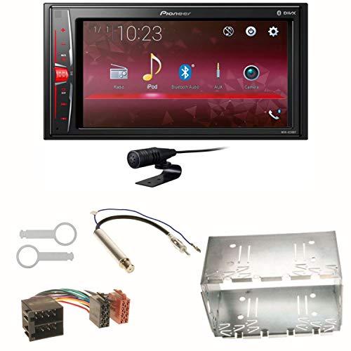 Pioneer MVH-A210BT USB Autoradio Touchscreen Bluetooth Moniceiver Freisprecheinrichtung WAV AUX AAC DivX Einbauset für Golf 4 Passat Polo Ibiza 6L