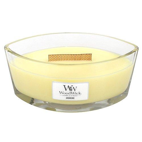 Woodwick Jasmin Dekorative Duftkerze im ovalformigem Glasgefäß 453.6 g, Glas, Gelb/Durchsichtig, 11.2 x 18.9 x 8.8 cm