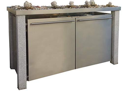 Mülltonnenbox aus Edelstahl mit Granitpfosten 12x12cm (3X 120l mit Pflanzwanne und B-Design)
