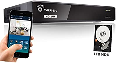 TIGERSECU Super HD 1080P H.265+ 8-Channel Hybrid 5-in-1 DVR NVR Security Video Recorder with 1TB Hard Drive, Supports Analog and ONVIF 2.0+ IP Cameras (Cameras Not Included)