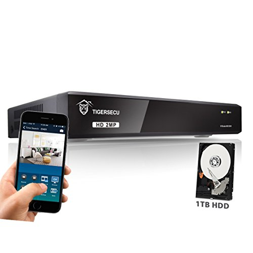 TIGERSECU Super HD 1080P H.265+ 8-Channel Hybrid 5-in-1 DVR NVR Security Video Recorder with 1TB Hard Drive, Supports Analog and ONVIF IP Cameras (Cameras Not Included)