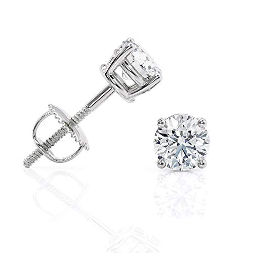 IGI Certified 1 Carat Lab Grown Diamond Stud Earrings for Women in 14k White Gold with Secure Screw Back D-E Color by Beverly Hills Jewelers