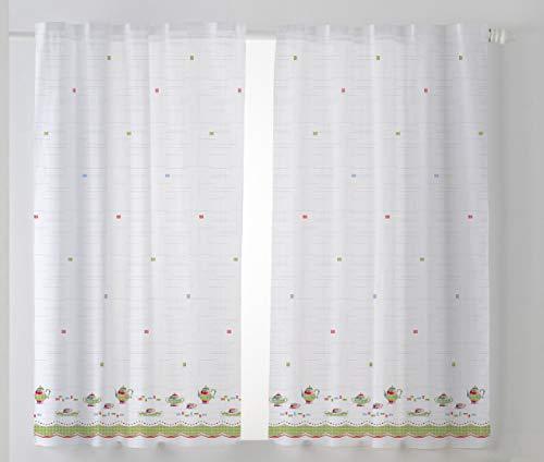 Cardenal Textil Tazas Cortina Cocina Visillo, Tela, Verde, Pack 2 100 x 140 cm