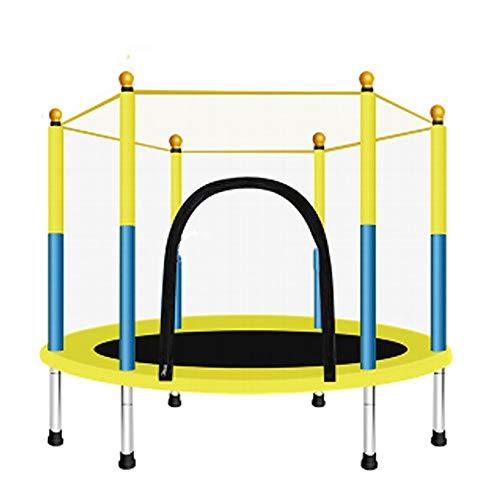 BYBYC 140 cm Baby-Kind-Heim Indoor Trampolin mit Schutznetz Springen Bett Cardio Kind Fitness Exercise Bett Outdoor-Trampolin,Gelb