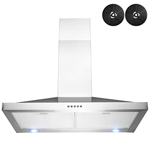 AKDY Wall Mount Stainless Steel Push Panel Kitchen Range Hood