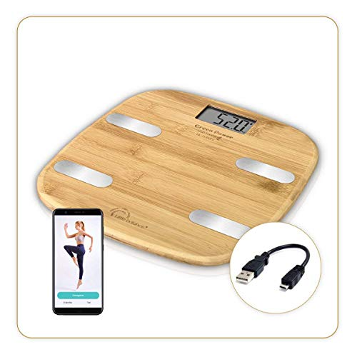 Little Balance Fitdays Körperwaage, Bambus, Körperanalyse, angeschlossen, ohne Batterien, USB-Ladegerät