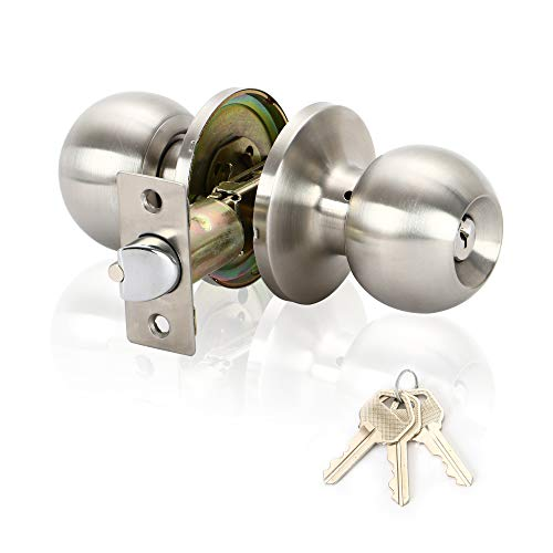 Door Knob with Lock and Key,Interior and Bathroom Doorknob,Satin Stainless Steel