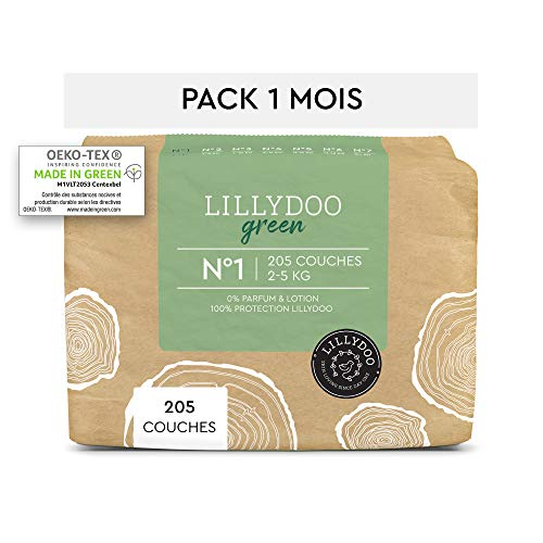 Couches LILLYDOO green - Taille 1 (2-5 kg) - 205 couches - Pack 1 mois