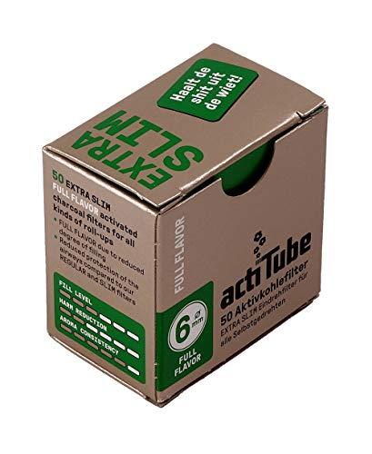 actiTube Aktivkohlefilter Extra-Slim, 6 mm Durchmesser, 50 Filter pro Packung 4 Packungen (200 Filter)