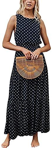 Vestito Lungo Donna Estivo Abito da Sera Cerimonia Girocollo Senza Maniche con Stampa a Pois Maxi Vestito Elegante Vintage (Navy Blue, S)