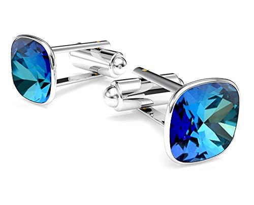 Crystals & Stones SQUARE *VIELE FARBEN* Silber 925 Rhodiniert Elegante Manschettenknöpfe Silber 925 Herren Sterling Swarovski Elements Manschettennadeln (Bermuda Blue)