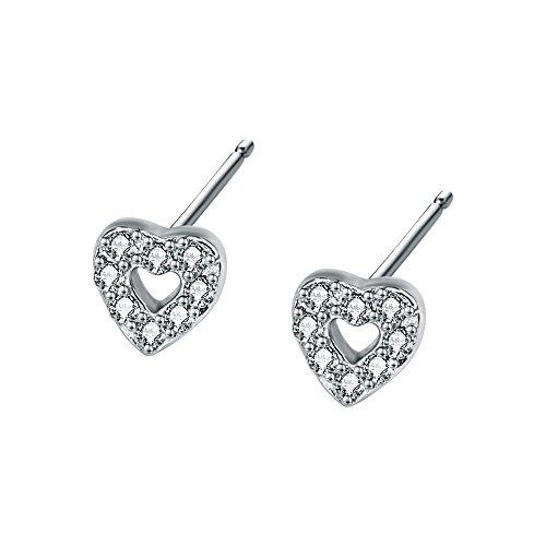 AoedeJ Pendientes de tuerca de plata de ley con forma de corazón y circonita cúbica para mujeres y niñas (estilo 2)