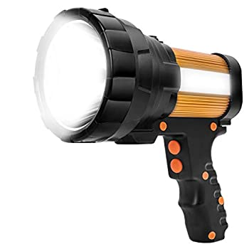 YBQZ Lampe Torche Led Ultra Puissante Rechargeable USB 6000 Lumens 10000 mah avec Lumière Latérale Lampe de Poche Etanche Haute Puissance (Or)