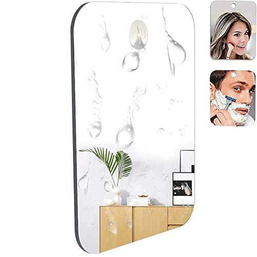Specchio da barba della doccia del bagno con il gancio adesivo smontabile di lunga durata del bonus, infrangibile, capace senza nebbia. 18cm x 14 cm, 66% più grande dell'originale.