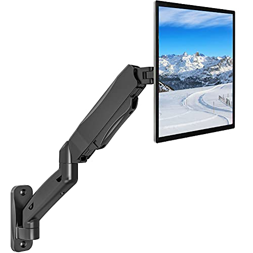 WALI Single LCD Monitor Fully Adjustable Gas Spring Wall Mount Fits 1 Screen VESA up to 32 inch, 17.6 lbs. Weight Capacity, Arm Max Extension 17 inch (GSWM001), Black