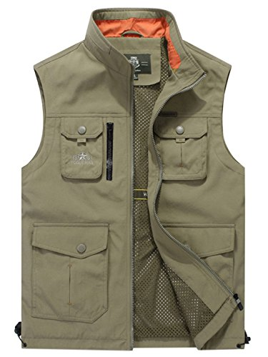 Gihuo Men's Utility Outdoor Multi Pockets Fishing Photo Journalist Sports Vest (Large, Khaki)