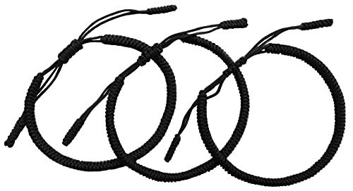 LUCKY BUDDHIST Tibetan Pulseras de la Suerte - Amuletos para Hombres y Mujeres - Encerado Muñequeras Ajustables de Amistad - Hechas a Mano (3X Negra)