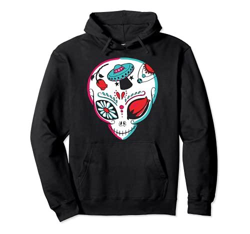 Alien Sugar Skull Dia De Los Muertos Mexicano Da De Muertos Sudadera con Capucha