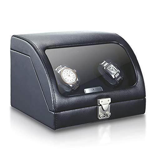 Soporte de reloj Reloj Winders - Black Genuine Cuero 2-Slot Watch Shaker...