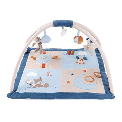 Nattou 333245 Krabbeldecke mit Spielbogen, Hund und Waschbär, 74 x 68 x 45 cm, Jim und Bob, Blau/Beige/Orange