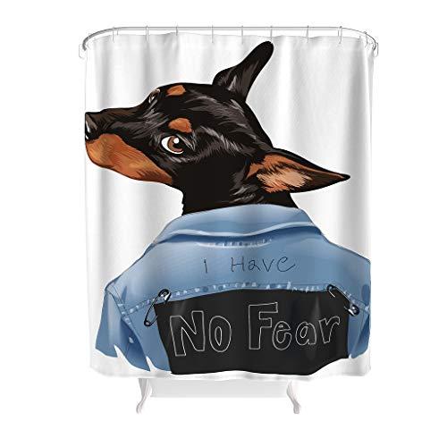 Charzee Douchegordijn met dierentekst, waterafstotend, topkwaliteit, badgordijn, 100% polyester, ideaal cadeau voor kinderen