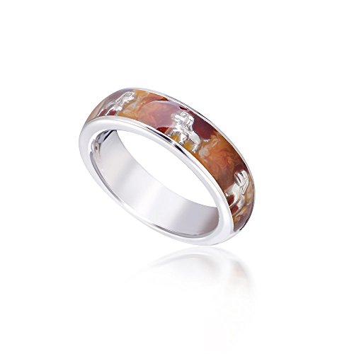 MATERIA Damen Ring Hund 925 Silber Emaille braun rhodiniert deutsche Fertigung #SR-139, Ringgrößen:59 (18.8 mm Ø)