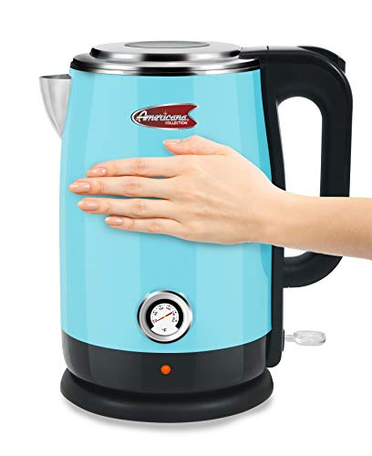 Elite Gourmet Double Wall Insulated Cool Touch Electric Water Tea Kettle, BPA Free Stainless Steel Interior and Auto Shut-Off, 1.7L (7.2 Cups), Blue