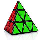 JQGO Triángulo Piramide Speed Magic Puzzle Cube, Standard Triangle Pyraminx Pyramid Smooth Speed Reliable Puzzle – Professional Magic Cube For Kids and Adults, Negro