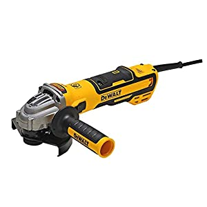 DEWALT DWE4357-QS – Mini-amoladora sin escobillas 125mm 1.700W 2.200-10.500 rpm Electrónica + Embrague + Arranque Suave + Freno + Bloqueo y re-arranque + Empuñadura Anti-vibración