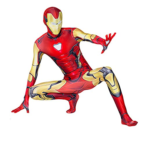 FLJLGY Niños Capitán América Disfraz Body Disfraz Venom Spider-Man Cosplay Mono Adulto Halloween Navidad Pantera Negra One Piece Onesuit Prop,Iron Man-Adult L 170~180cm