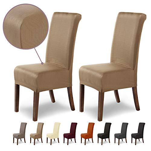 SCHEFFLER-Home Stretch Stuhlhusse Marie | 2er Set elastische Stuhlabdeckungen mit Fleckschutz | Stuhlhussen Schwingstühle | Spannbezug mit...