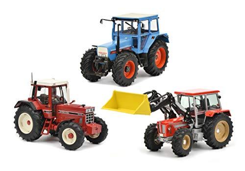 Schuco 450765900 - Set Traktorlegenden, 1x IHC 1255 XL, 1x Eicher 3125, 1x Schlüter m. Frontl., Modellauto Set, 1:32, in Holzkiste mit Schaumstoffeinlage