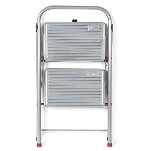 Escalera plegable KL068491EU de 2 escalones, 80cm, rosa/gris, capacidad de 150kg de...